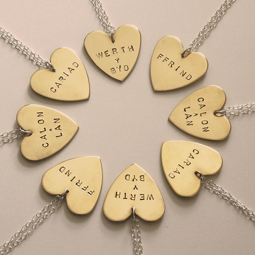 Brass Heart Necklace - Mwclis Calon Pres