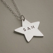 Personalised silver star necklace