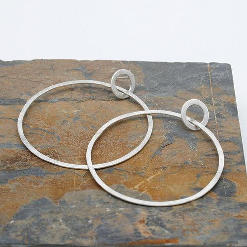 Silver Hoop Earrings - Clustdlysau Cylch Arian
