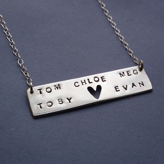 Personalised silver neckalce with names and tiny heart