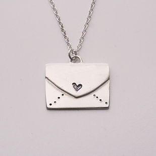 Image of Sterling Silver love letter necklace by Vicky Jones