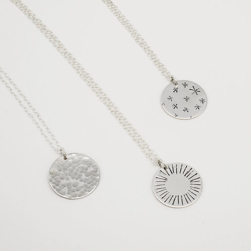 Silver Disc necklace - Mwclis Disc Arian