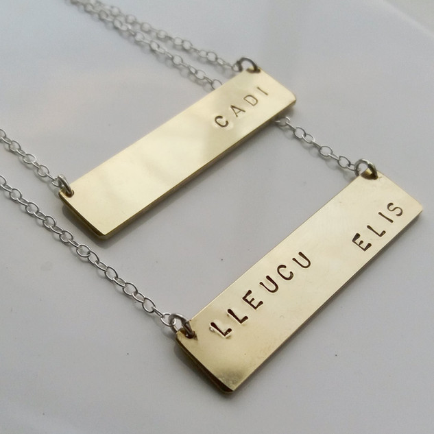 Personalised brass bar necklaces