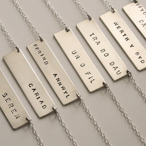 Silver Bar Necklace - Mwclis Bar Arian