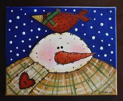 Snowman and Cardinal