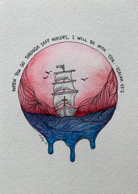 "Sympathy Card ""Deep Waters"""