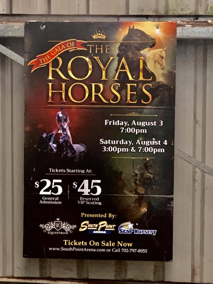 Guaranteed the only sign like this in Australia! Finally it's up in the indoor arena. A souvenir from a year ago when we were in Las Vegas helping our good friends Sonny and Barbara Gasser out with their show Gala of the Royal Horses in South Point Casino Las Vegas.