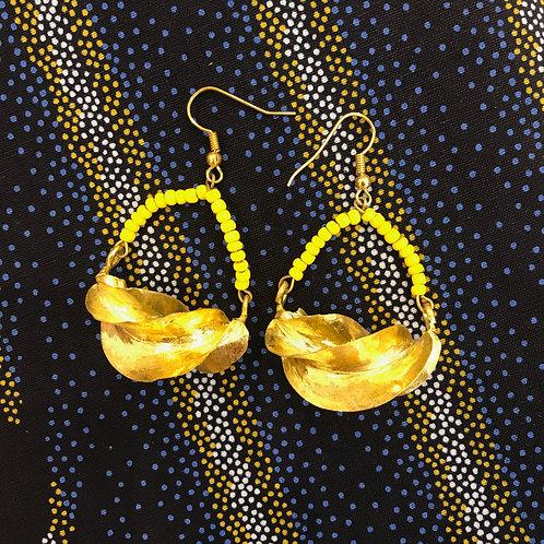 Boucles d'oreilles Fulani perles jaunes
