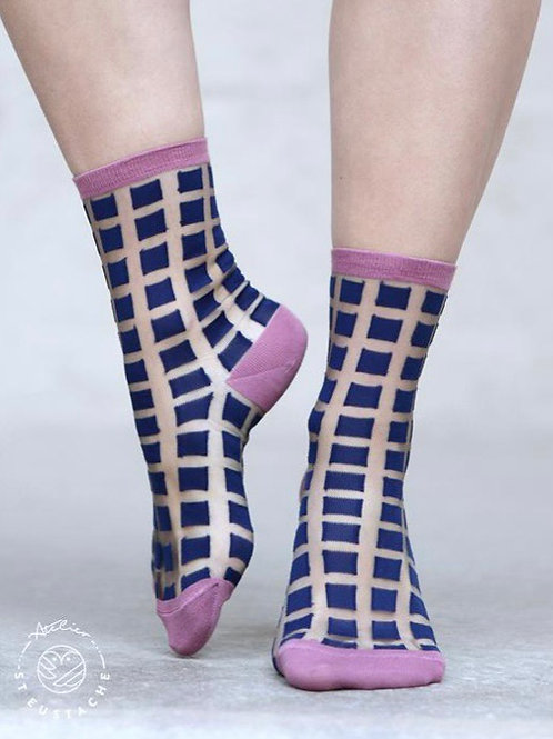Chaussettes Ginza Blue & Pink