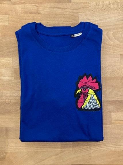 """T-shirt homme bleu """"Coq"""" rose"""
