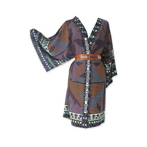"""Kimono en soie """"Génie - Inutile de l'admirer c'est une névrose"""""""