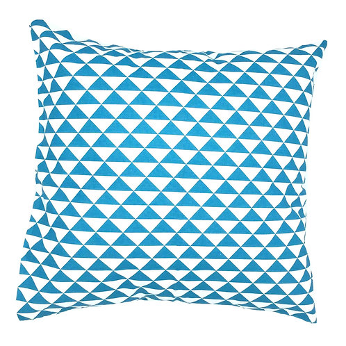 "Coussin ""Triangles turquoises"" 45x45cm"