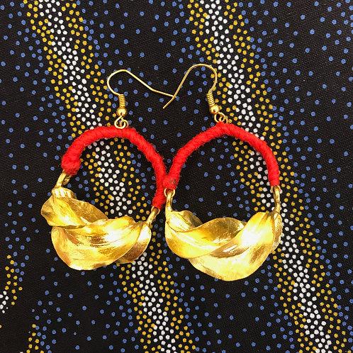 Boucles d'oreilles Fulani fil rouge