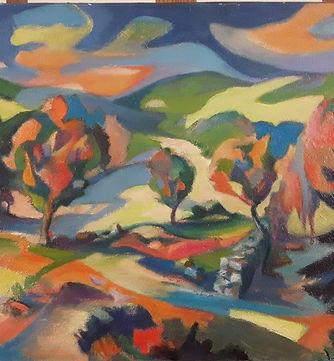 Paysage aux arbres oranges  - 73 x 60 cm