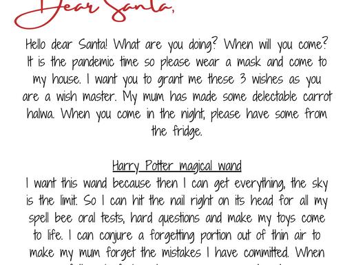 Dear Santa, From Rishabh Kumar