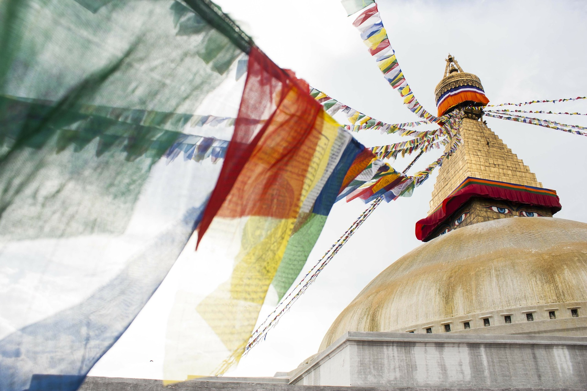 Prayer flags at Boudha Stupa