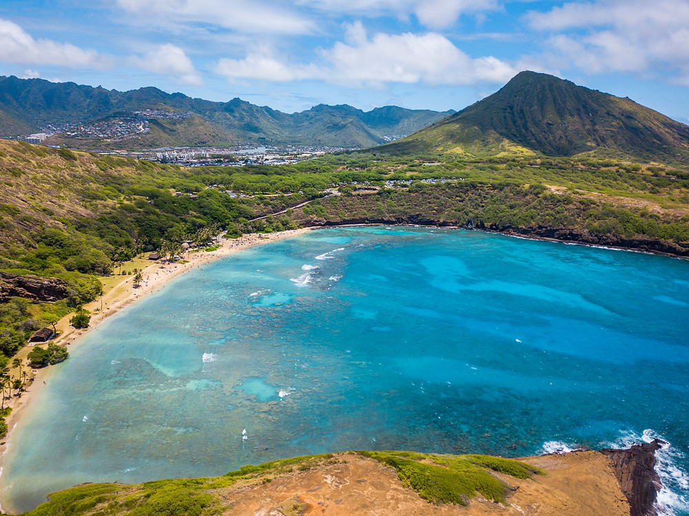 The drone looking over Hanauma Bay