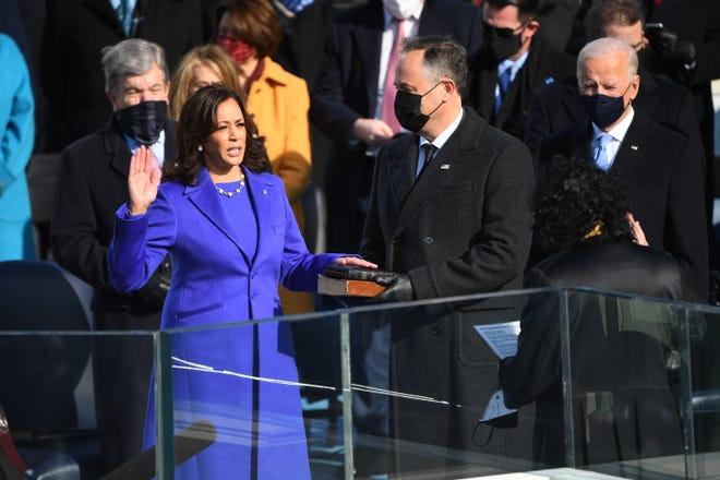 Vice President Kamala Harris being sworn in on inauguration day