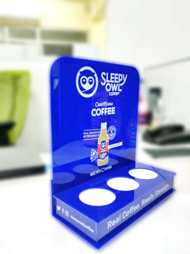 Bottom lit countertop dispensers for Sleepy Owl Coffee