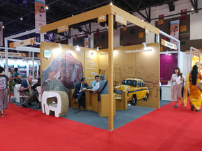Vasco Travels booth made from 100% corrugated paper in Jaipur, India.
