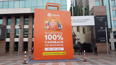 24 feet Grand Orange Bag installed at DLF CyberHub, Gurugram