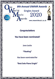 """Jane Leslie's recording """"Floating"""" was nominated for Best Solo Piano Single by One World Music Radio."""