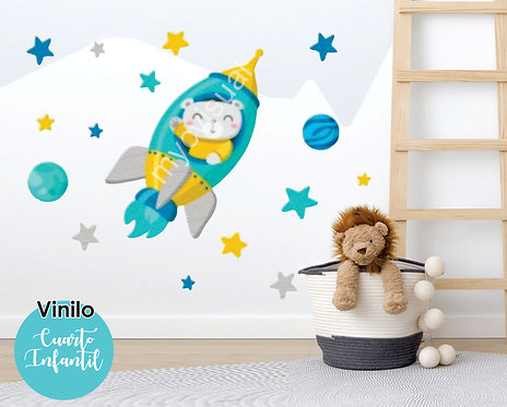 Vinilo Decorativo Infantil Nave Espacial Cohete Estrellas