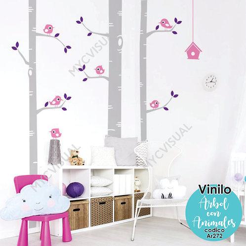Vinilo Decorativo Infantil Arboles Con Animales De Alt 250cm