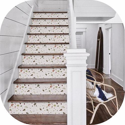 Vinilo  Escalones Para Escalera Terrazo Granito