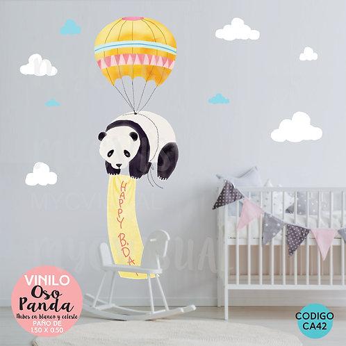 Vinilos Decorativos Para Pared Infantiles Oso Panda 150x50