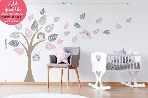 Vinilo Decorativo Infantil De Arbol Con Buho De 160x260 Cm