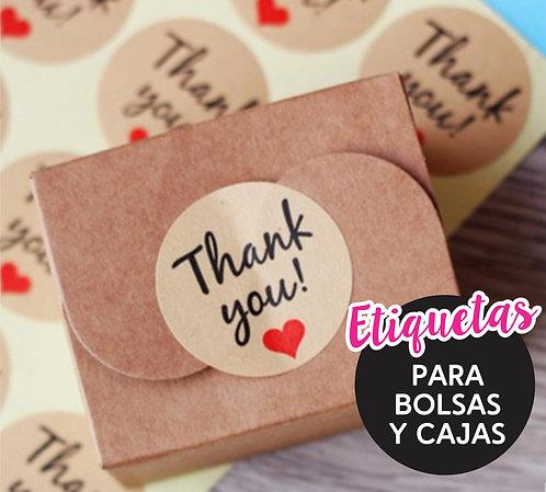 Etiquetas Cierre Bolsas, Stickers Circulares 6cm Pack X 100u