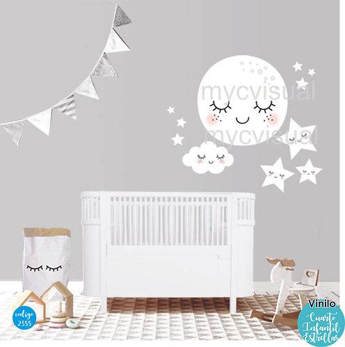 Vinilo Decorativo Infantil Estrellas Y Luna De 85x85 Cm