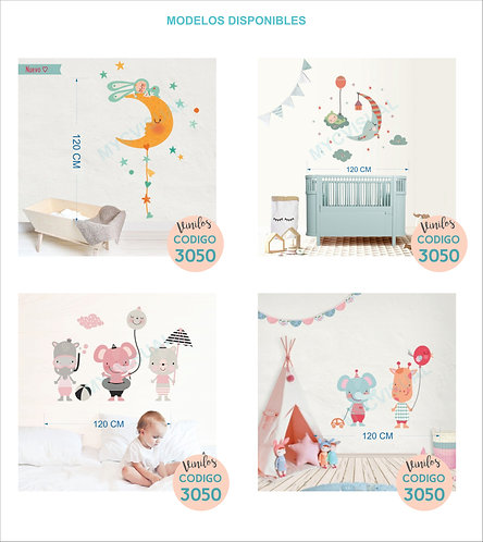 Vinilo Decorativo Pared Infantil Luna Casita Circo Animalito