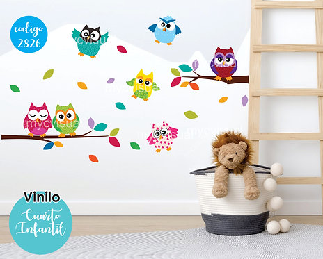Vinilos Decorativos Para Pared Infantiles Buhos Felices 150