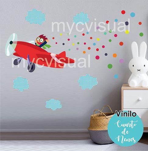 Vinilo Decorativo Infantil Nenes Varones Avión De 140c Ancho