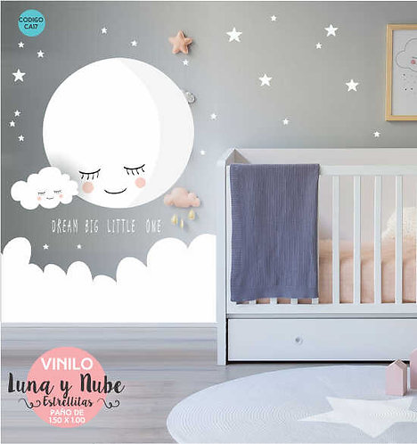 Vinilo Decorativo Pared Infantiles Luna Y Estrellas 150x100