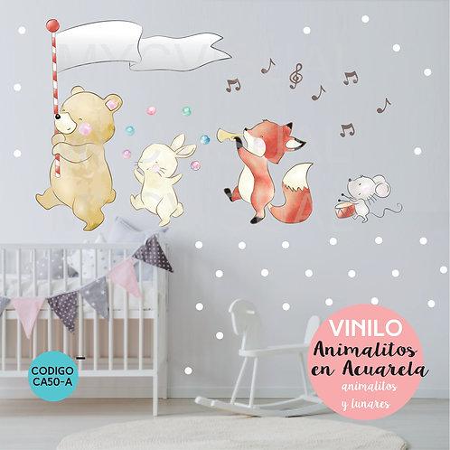 Vinilo Decorativo Infantil Animales Musicales 100 X 170 Cm