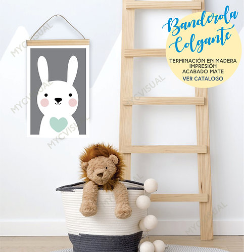 Cuadros Infantiles Banderines Tiernas Rectas 33x22 Cm