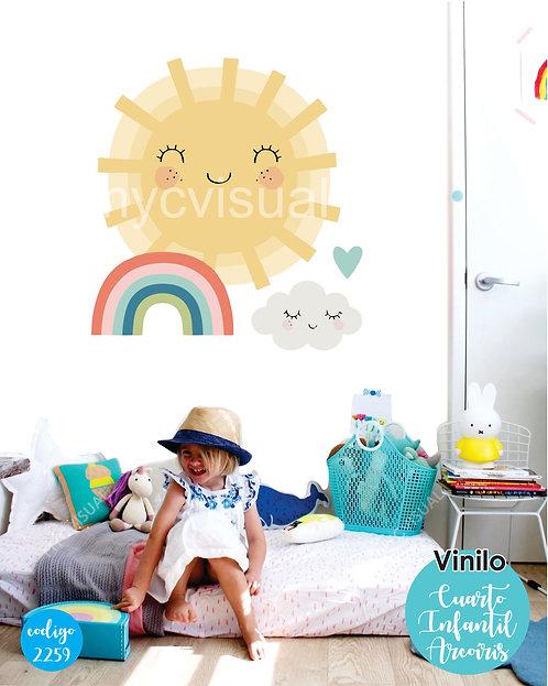 Vinilo Decorativo Infantil Sol Y Arcoiris De 70x70 Cm