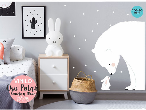 Vinilos Decorativos Para Pared Infantiles, Oso Polar 150x100