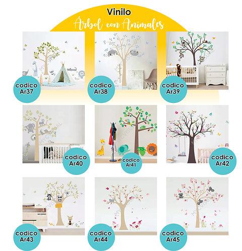 Vinilo Decorativo Infantil Arbol Y Animales Modelos-a 90 Cm