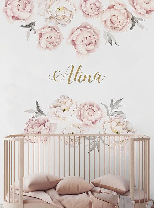 Vinilos  Flores Peonias De 70x50 Cm