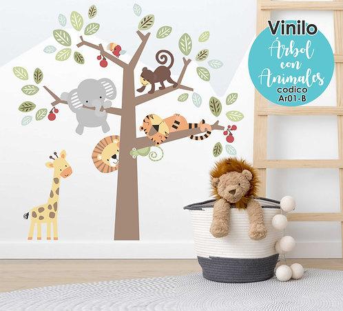 Vinilo Arbol Con Animales 137x137