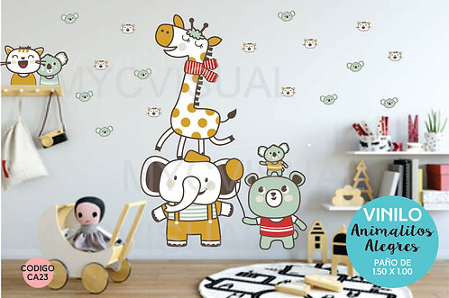 Vinilo Decorativo De Pared Infantil Animalitos Alegres