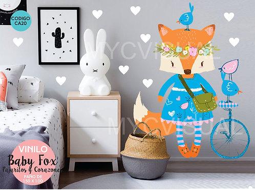 Vinilos Decorativos Para Pared Infantiles Baby Fox 150x100