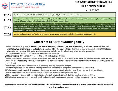 INWC Guidelines to Restart Scouting Safe