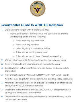 Scoutmaster Guide to WEBELOS Transition.