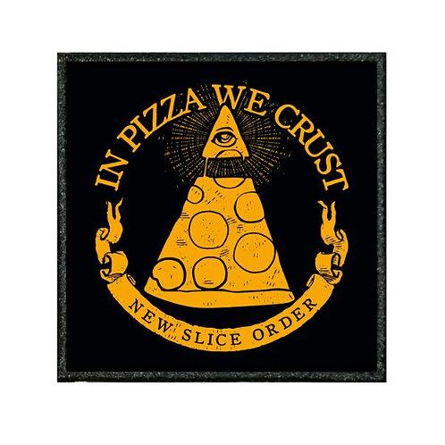 THERMAL VINYL PATCH - ILLUMINATI IN PIZZA WE CRUST