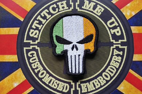 "EMBROIDERED PATCH ""PUNISHER"" WITH IRISH FLAG"